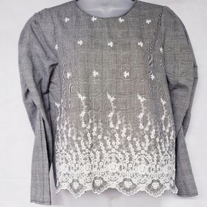 Zara Floral Embroidered Blouse NWT